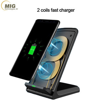 Qi 2 Coils Wireless charger stand Fast Charger Stand Desktop Charging Station Pad for Cell Phone