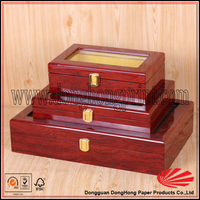 Glossy polished wooden photo album box with acrylic window