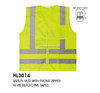 Hi-vis reflective blue safety vest with front zipper