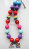 Rainbow Rhinestones Alloy Metal Pendant Necklace Chunky Beaded Kids Bubblegum Necklace Bulk Gumball Necklace for Girl