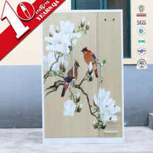 Antique furniture printed wardrobe 3 door godrej steel almirah design price with mirror