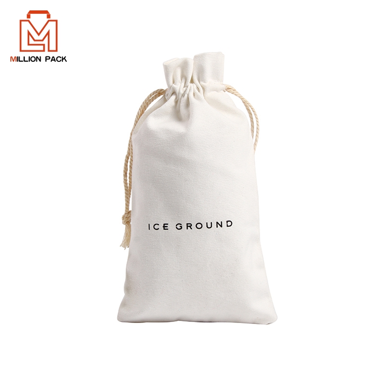 Bewest fashion small organic cotton drawstring bag with custom printed logo