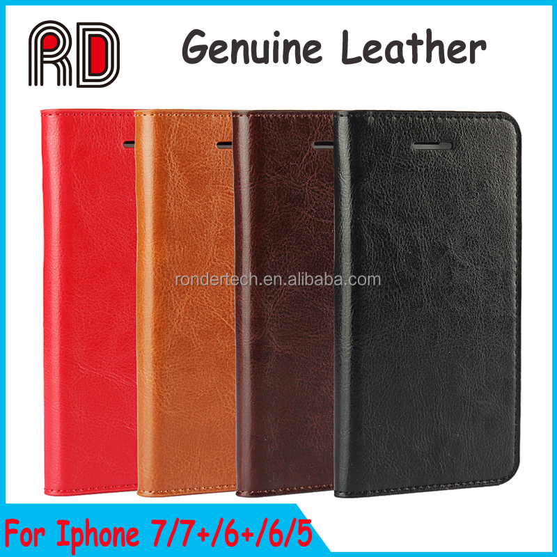 For iphone 7 Ultra Thin Genuine Leather Case With Card Slot, Luxury Genuine Real Leather Case Cover