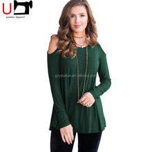 Top Selling Cold Shoulder slim Custom Rounded Hem Blank Woman T Shirt