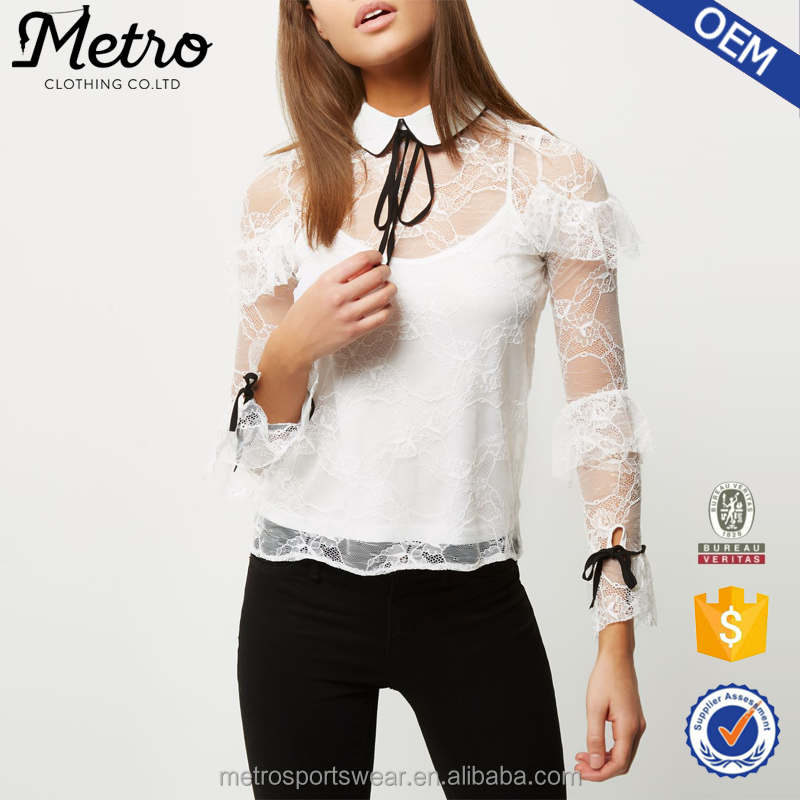 Wholesale Ladies White Lace Frill Hook Back Blouses and Tops
