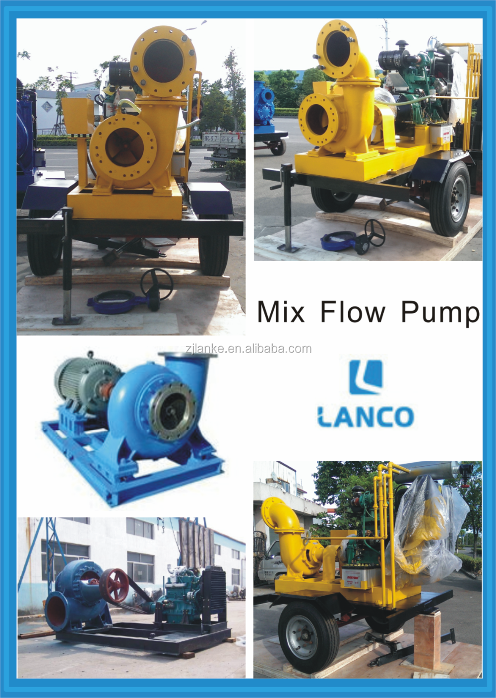 HW Mobile Mix Flow Diesel Water Pump With 5m Suction Lift