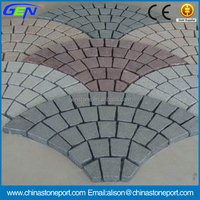 Hot Color Fan Shape Driver Way Granite Cheap Paving Stone