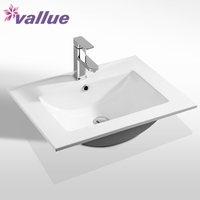 Cheap wall mounted ceramic sink, white cabinet basin, counter top basin
