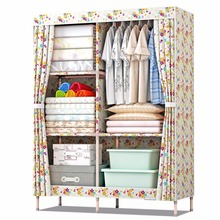 simple open door portable folding wood printing fabric canvas cloth storage wardrobe almirah