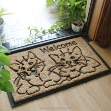 60*90cm black rubber and coir brush outdoor pet mat