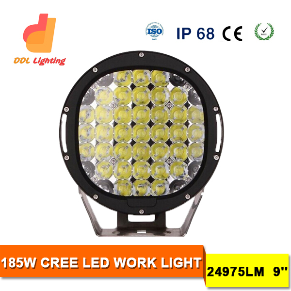 2015 Australia Hot Sale 185w 12v Led Crees Driving Light Bar Round 9inch 4WD 4X4 Led driving Lights for truck