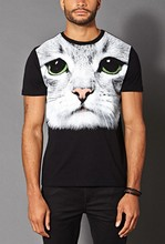 new fashion custom cat printing t shirt for men ,made in china