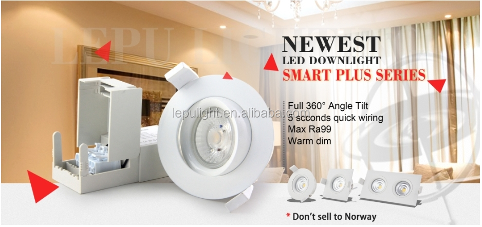 Anti-glare GYRO LED dim warm 2000k-3000k downlight IP44