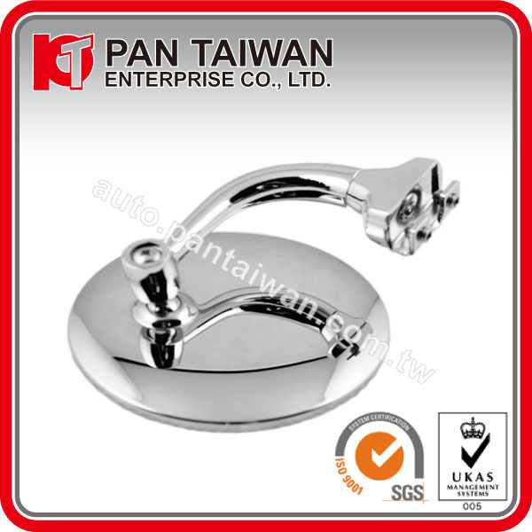 "UNIVERSAL TYPE CAR PEEP MIRROR, LH, 4"", FLAT/CONVEX , GLASS CURVED ARM, STAINLESS HEAD + ZINC CHROME ARM / CAR MIRROR CHROME"