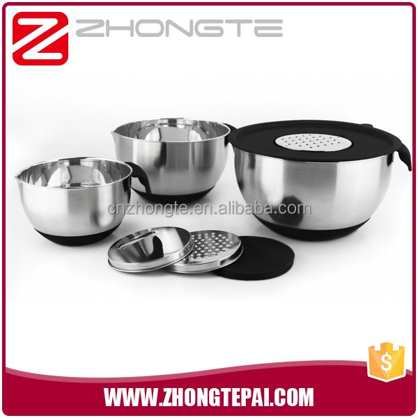 zhongte Stainless Steel Non-Slip Mixing Bowls Set with Lids and Graters Black