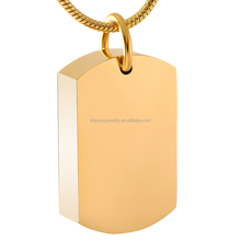 Blank ID Tag/Dog Tag Free Engrave Cremation Jewelry Stainless Steel Pet Ashes Keepsake Memorial Urn Pendant