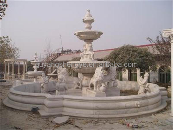 Decorative marble outdoor garden water fountain with flowerpot