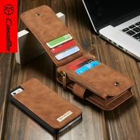 2016 CaseMe Flip Leather Mobile Phone Case Cover For Apple iPhone 5 SE With 8 Card Slots