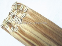 High Quality blonde #60 color Virgin remy Clips hair extensions Malaysian straight clip in hair
