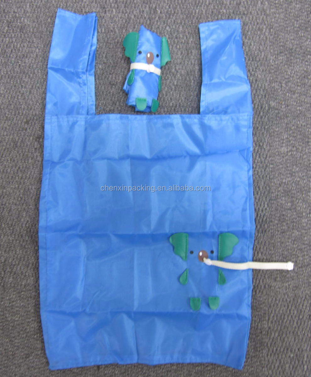 promotional animal shaped polyester folding bag for shopping