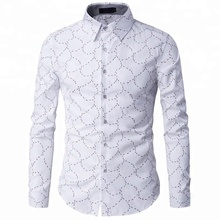 Fashion Men Slim Fit Long Sleeve custom Printed Dress Shirt