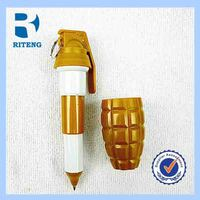 Hand grenades shape pen new design cross fire plastic ballpoint stretch pen for kids