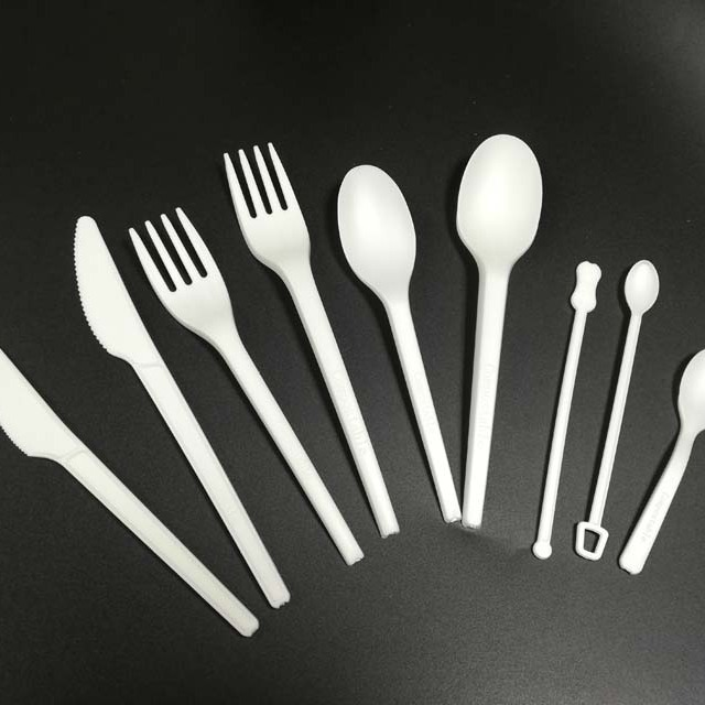 biodegradable CPLA Knife fork spoon eco friendly utensil flatware