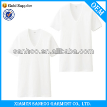 Solid Color Open V Neck Blank Fitted Tee Shirts For Male Slim Fit Plus Size