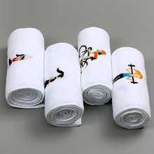 Cheap personalized wholesale small white embroidery logo gym cartoon custom cotton towels hand towel