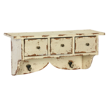 shabby white wood wall shelf with 3 drawers 2 hooks,