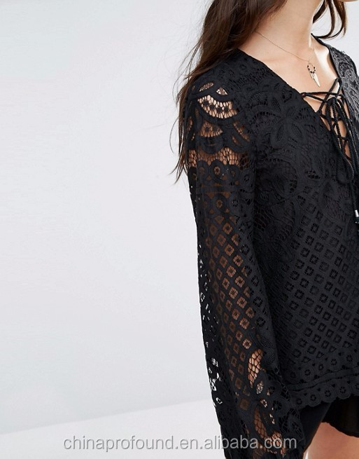 hand wash ladies lace blouse unlined sheer sleeves plunge neckline lined lace up blouse china fabric market wholesale lace
