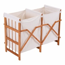 NEW Household Folding Bamboo Frame Laundry Hamper