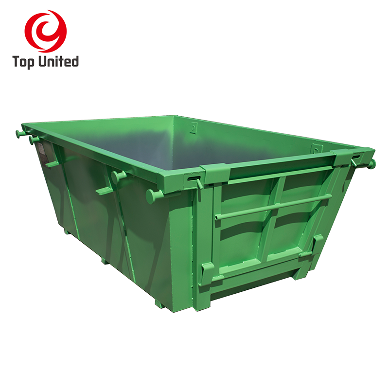 Recycling Q235 Steel Marrel 10 cbm scrape skip container rubbish bins with doors waste management