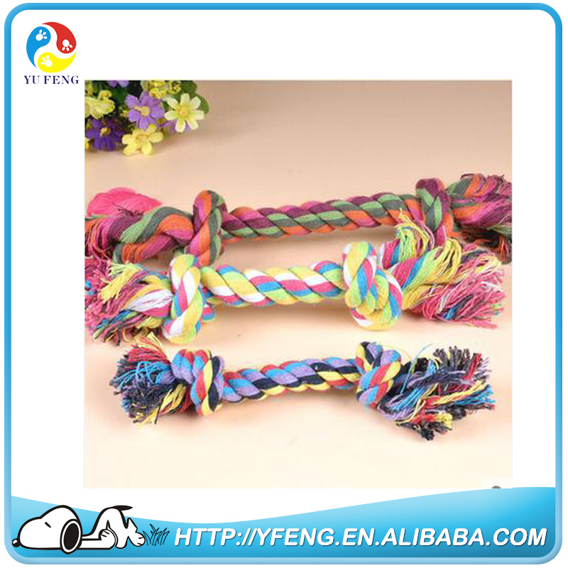 Cute Pet Dog Braided Twisted Cotton Rope Chew Double Knots Toy