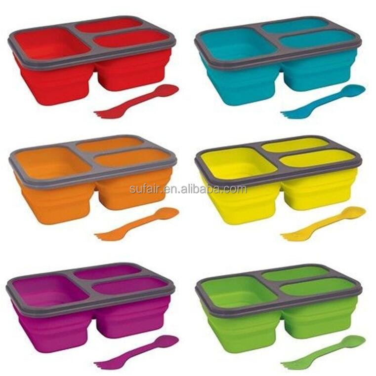 3 compartment leakproof silicone plastic kids lunch box with spoon