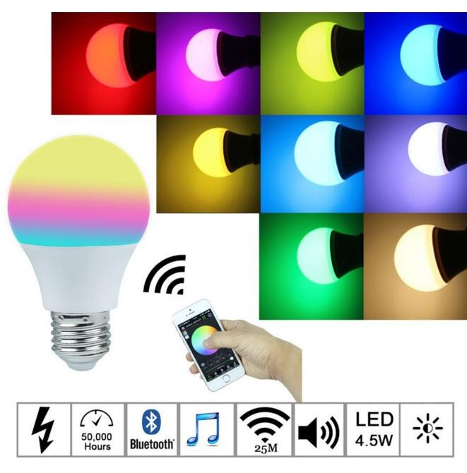 Bluetooth LED Bulb E27 RGBW 4.5W Smart LED Light Bulb Timer Smartphone Controlled Dimmable Color changeable