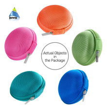 Portable Case for Headphones Case Mini Zippered Round Storage Hard Bag Headset Box for Earphone Case SD TF Cards