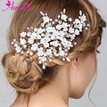 Amelie Hair Jewelry Elegant Enchanted Porcelain Blossom and Rhinestone Barrette Floral Bridal Hair Clip Pearl Women Headpiece