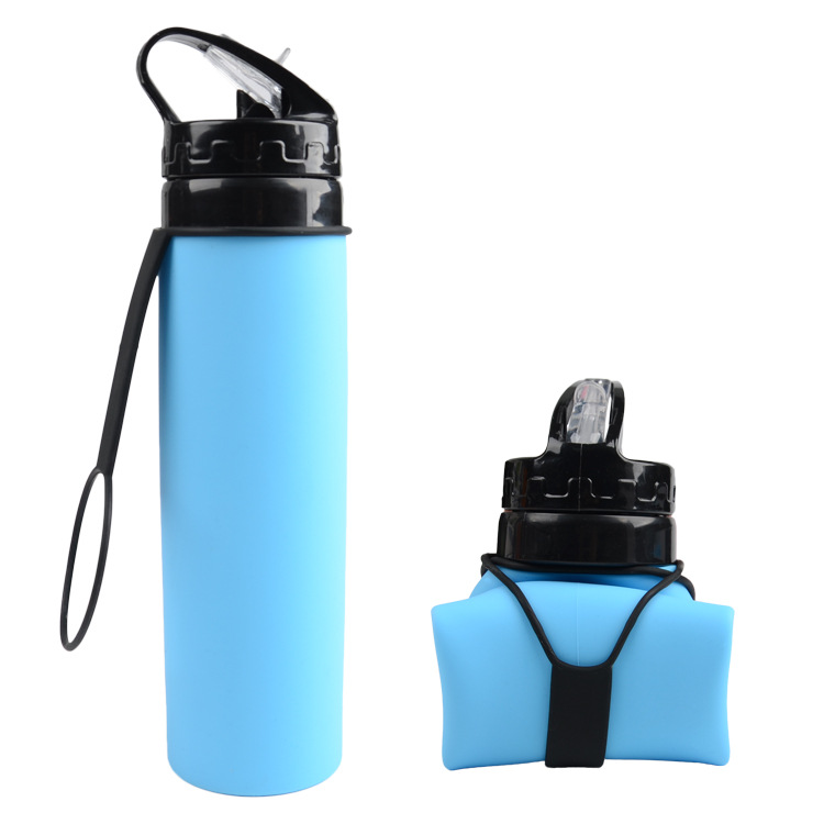 610ml Outdoors Foldable Water Bottle Silica gel Traveling Sport Running Cycling Kettle Healthy Soft Material Hiking Camping Jug