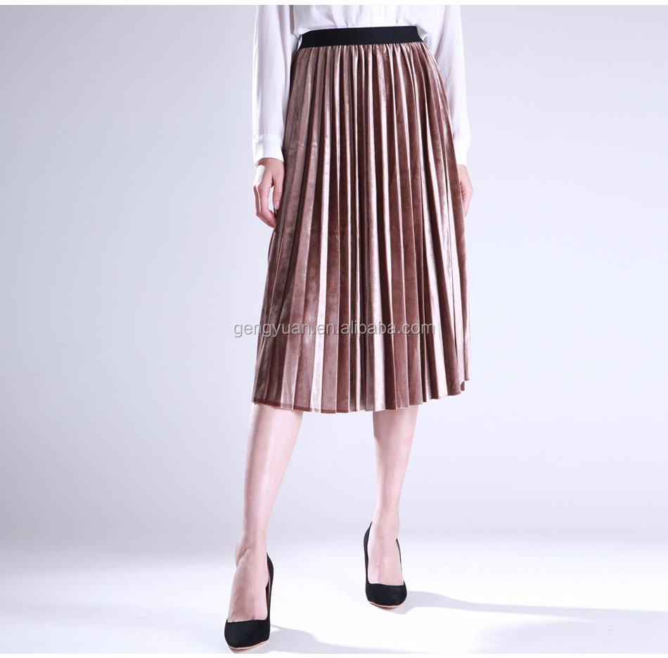 Autumn winter Retro velvet pleated high waist skirt