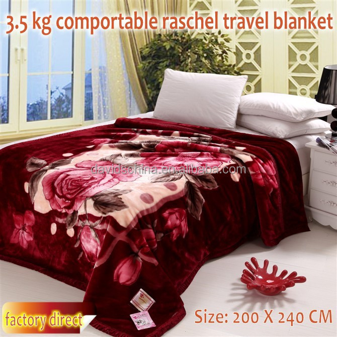 3.5kg comportable King size rashcel mink weft travel blanket 200 X 240 CM