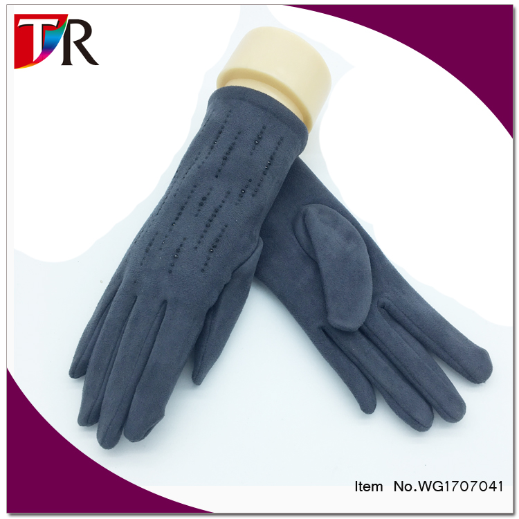 fashion crystal decorated suede leather gloves for women