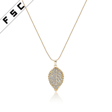 Hot sale yellow gold plated crystal diamond leaf shape pendant necklace brass chains for women
