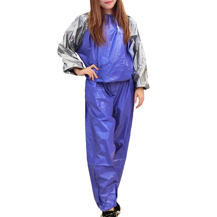 White or blue or sliver gray pvc fitness sauna suit for lose weight training sports