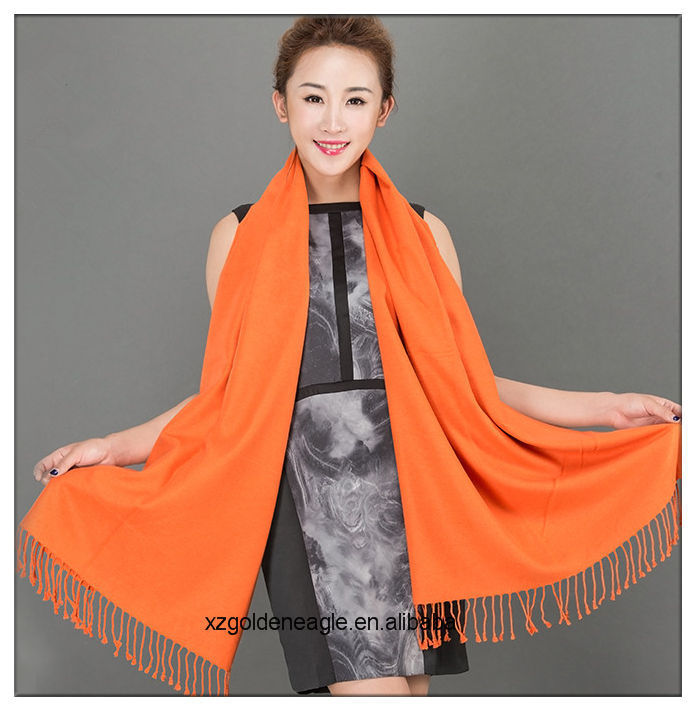 Orange Color 100% Natural Silk Scarf for Winter