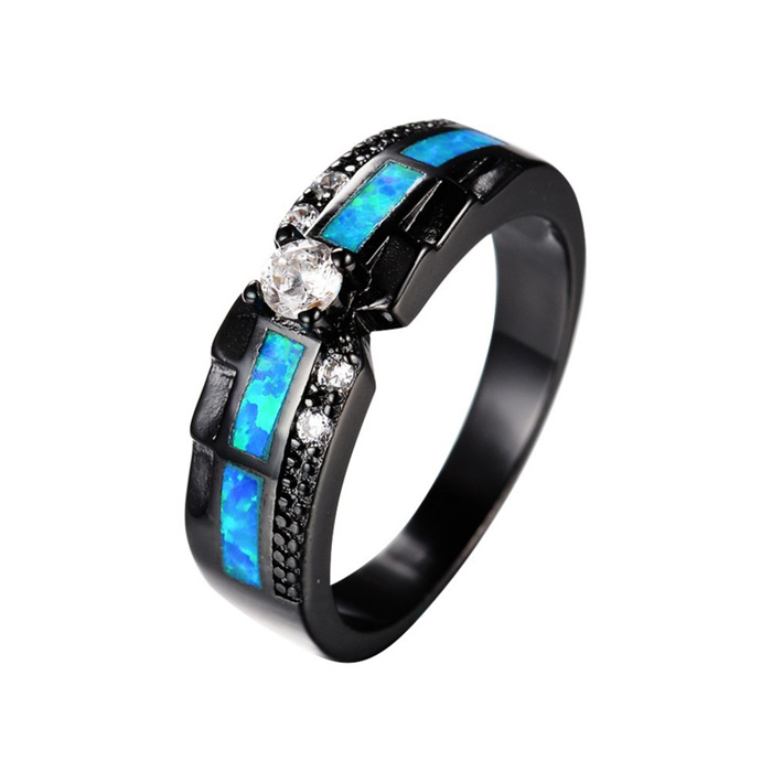 SJ Hot Sale SJRB0927 European Personalized Brass Black Plated Round Cubic Zirconia Opal Synthetic Diamond Ring for Engagement
