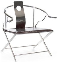 Ming Asian Industrial Loft Stainless Steel Leather Arm Chair