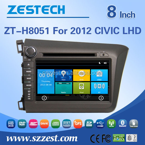car cassette and cd dvd and gps for honda civic 2012 car dvd player GPS navigation system left hand driver