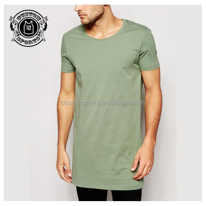 Super longline t-shirt wholesale scoop neck t shirt for men