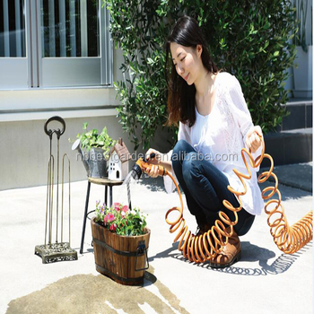 coil hose set with metal holder 2018 new patent expandable garden hose reel